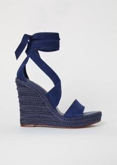 H&M H & M - Suede Wedge-heel Sandals - Blue