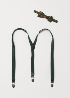 H&M H & M - Suspenders and Bow Tie - Green