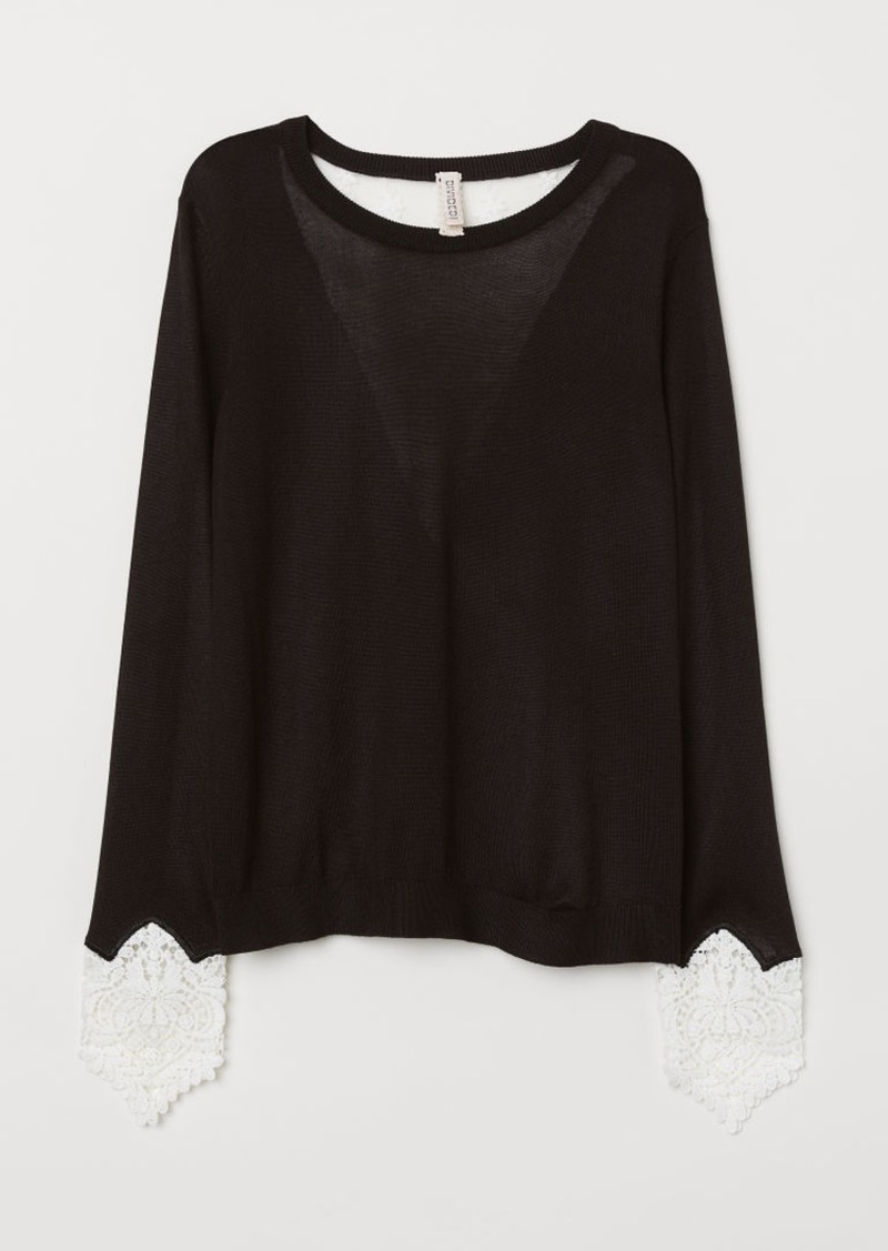 H&M H & M - Sweater with Lace Details - Black