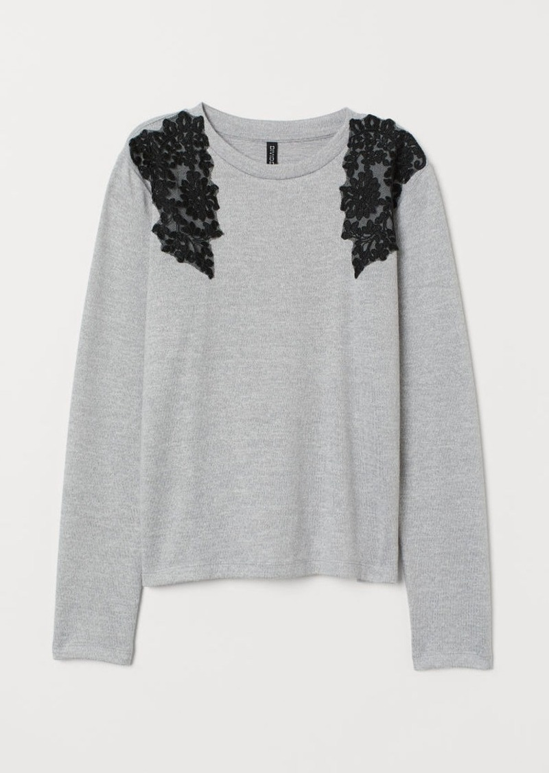 H&M H & M - Sweater with Lace Details - Gray