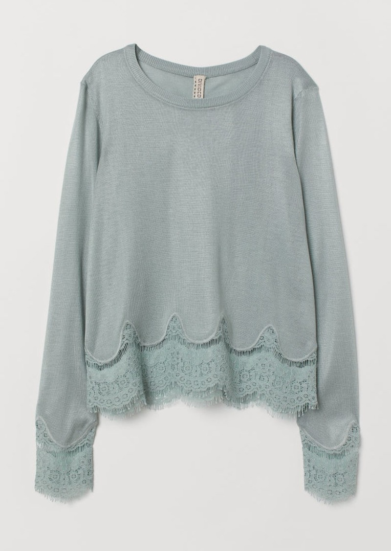 H&M H & M - Sweater with Lace Details - Turquoise