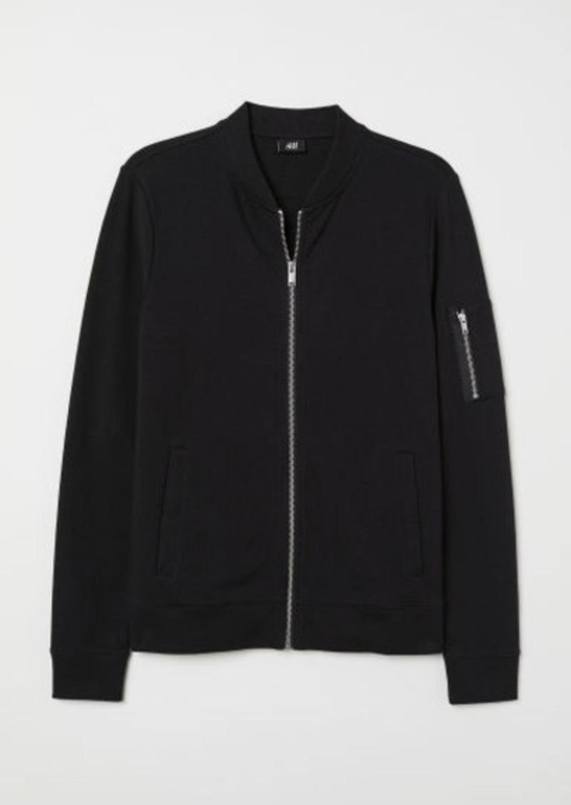 H&M H & M - Muscle Fit Sweatshirt Cardigan - Black