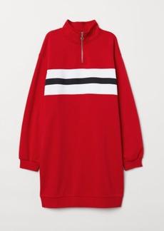 H&M H & M - Sweatshirt Dress with Collar - Red