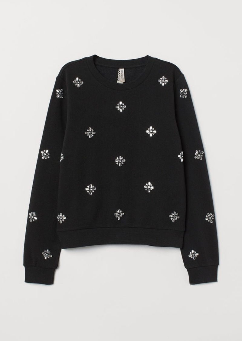 H&M H & M - Sweatshirt with Appliqués - Black