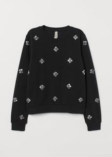 H&M H & M - Sweatshirt with Appliqués - Black