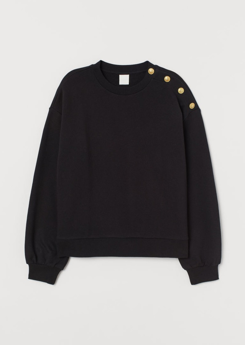 H&M H & M - Sweatshirt with Buttons - Black