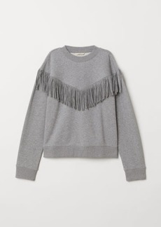 H&M H & M - Sweatshirt with Fringe - Gray