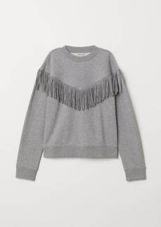 H&M H & M - Sweatshirt with Fringe - Gray
