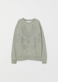 H&M H & M - Sweatshirt with Lace - Green
