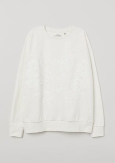 H&M H & M - Sweatshirt with Lace - White