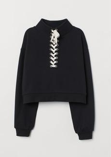 H&M H & M - Sweatshirt with Lacing - Black