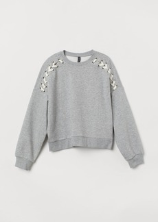 H&M H & M - Sweatshirt with Lacing - Gray