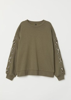 H&M H & M - Sweatshirt with Lacing - Green