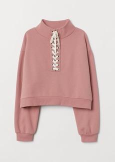 H&M H & M - Sweatshirt with Lacing - Pink