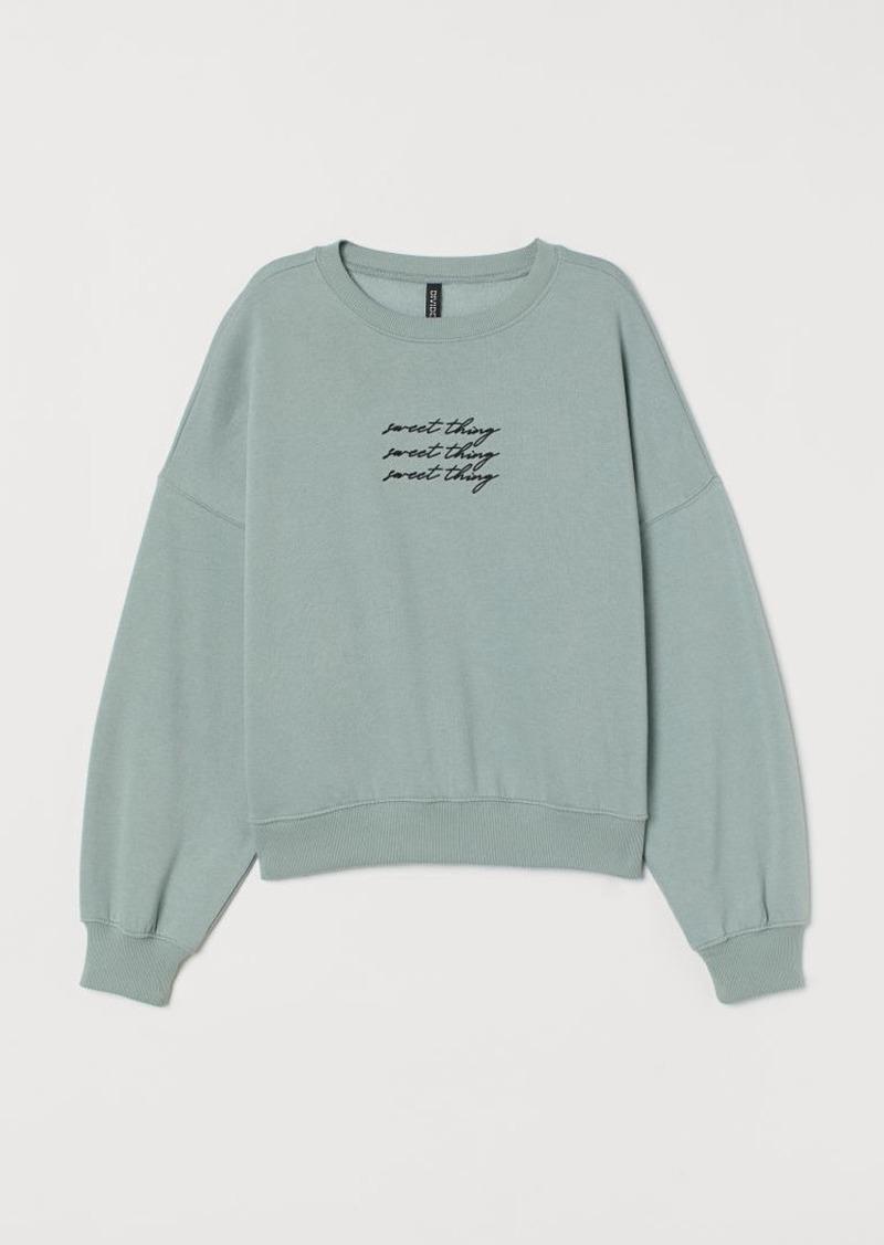 H&M H & M - Sweatshirt with Motif - Green