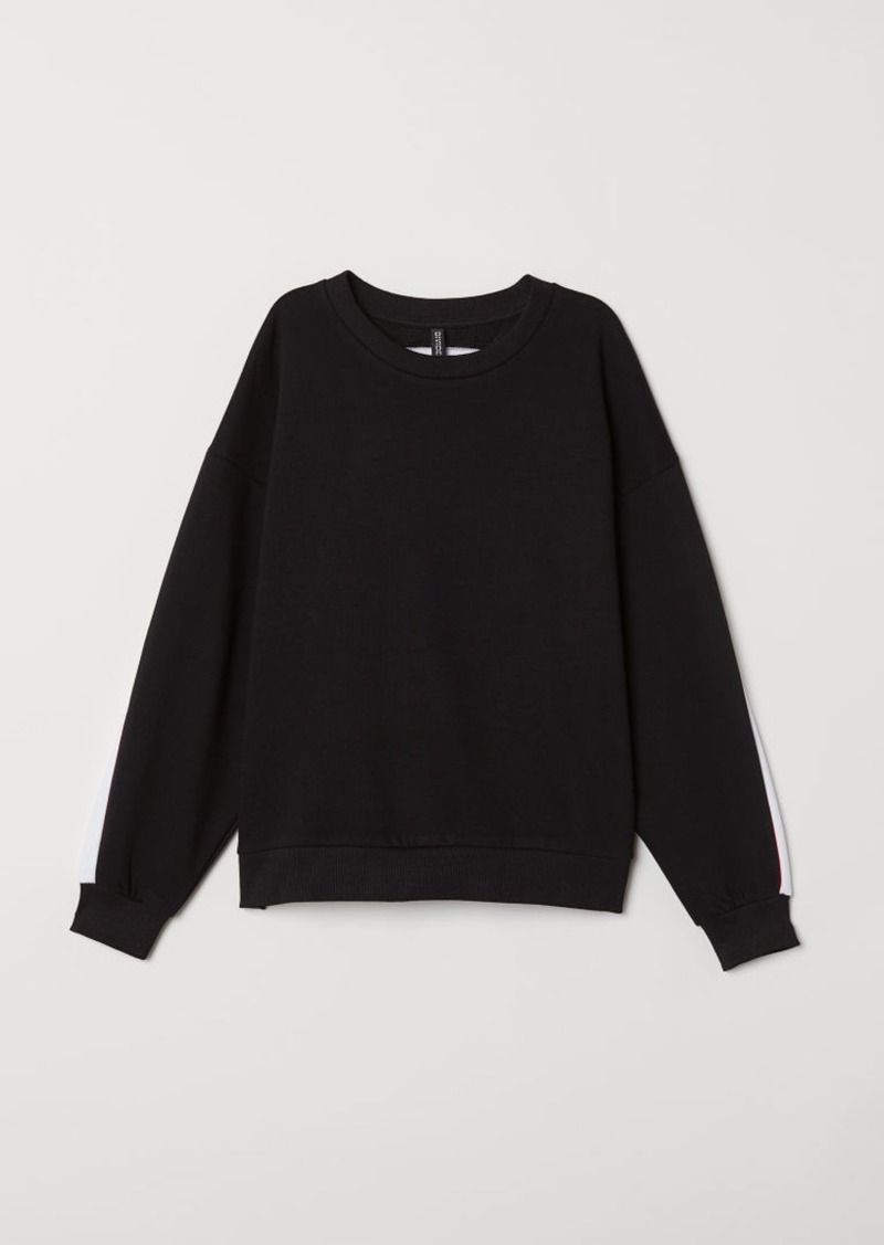 H&M H & M - Sweatshirt with Printed Design - Black