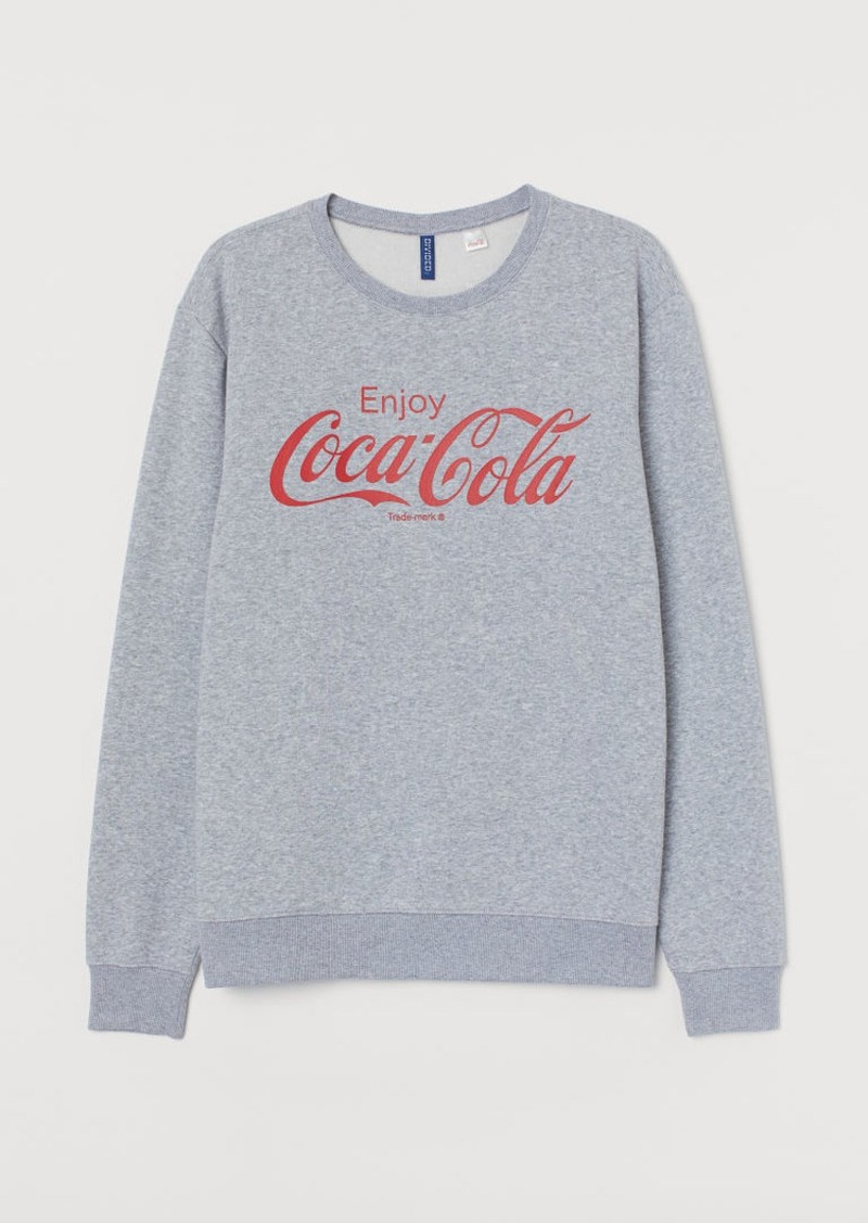 H&M H & M - Sweatshirt with Printed Design - Gray