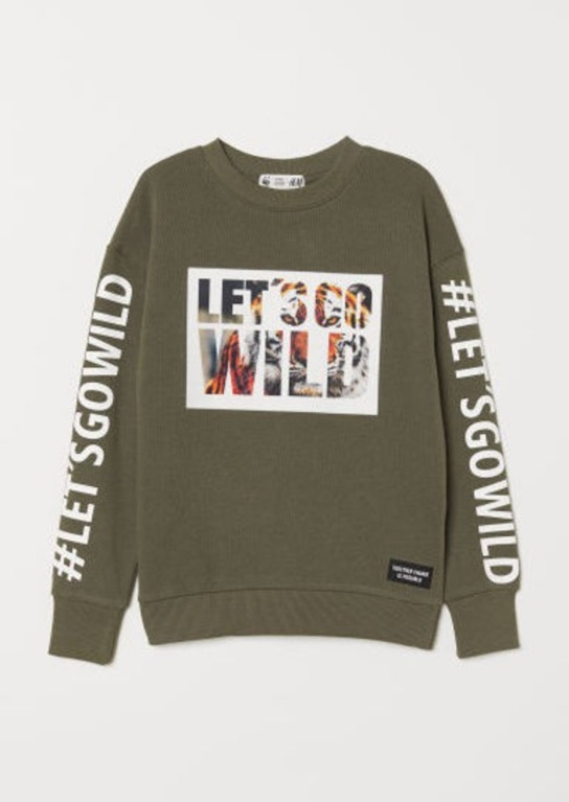 H&M H & M - Sweatshirt with Printed Design - Green