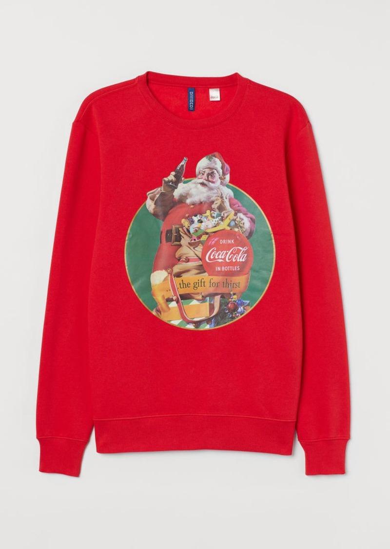 H&M H & M - Sweatshirt with Printed Design - Red