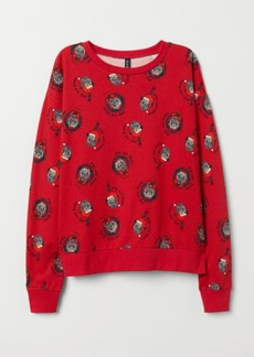 H&M H & M - Sweatshirt with Printed Design - Red