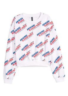 H&M H & M - Sweatshirt with Printed Design - White