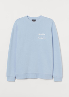 H&M H & M - Sweatshirt with Text Design - Blue