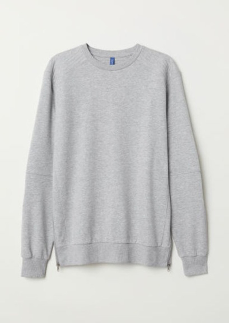 H&M H & M - Sweatshirt with Zips - Gray