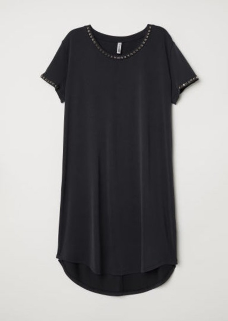 H&M H & M - T-shirt Dress with Studs - Black