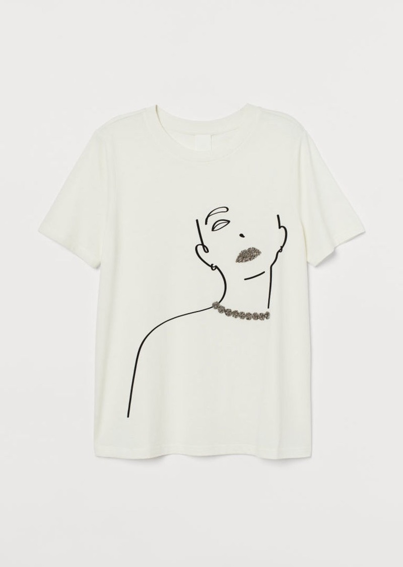H&M H & M - T-shirt with Appliqués - White
