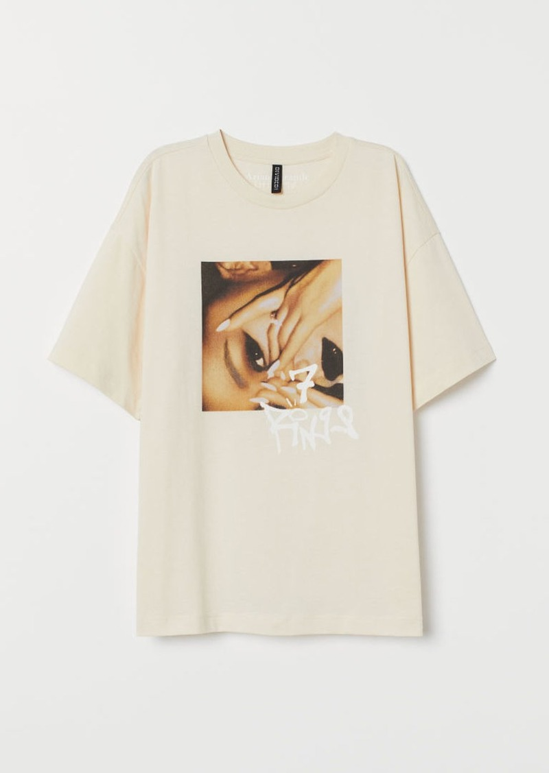 H&M H & M - T-shirt with Printed Design - Beige