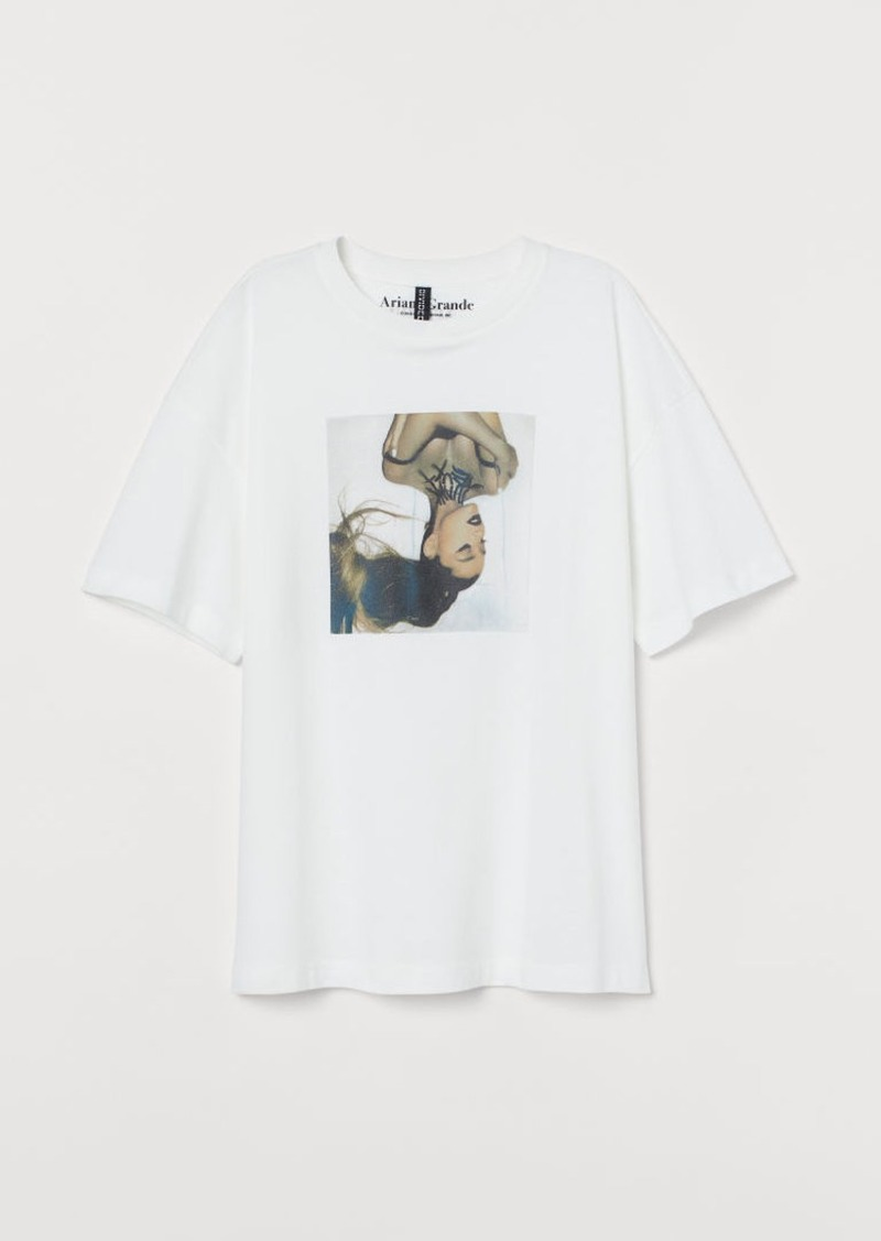 H&M H & M - T-shirt with Printed Design - White