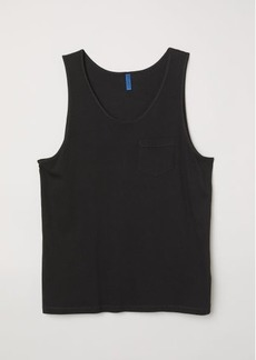 H&M H & M - Tank Top with Chest Pocket - Black