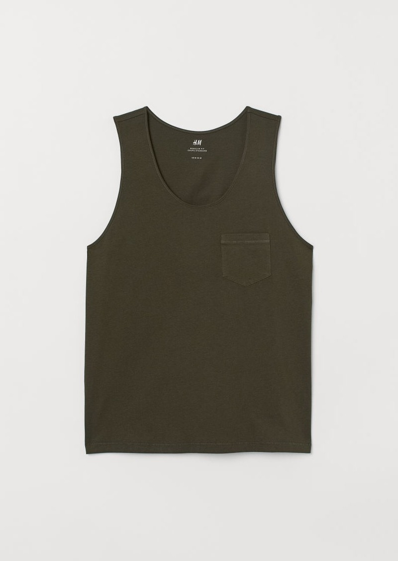 H&M H & M - Tank Top with Chest Pocket - Green