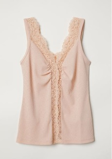 H&M H & M - Tank Top with Lace - Orange