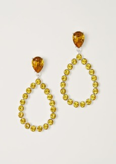 H&M H & M - Teardrop Rhinestone Earrings - Yellow