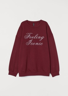 H&M H & M - Text-print Sweatshirt - Red