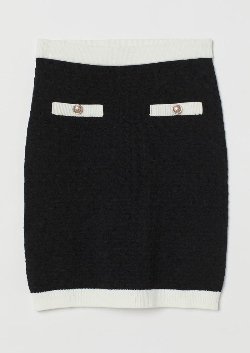 H&M H & M - Textured-knit Skirt - Black
