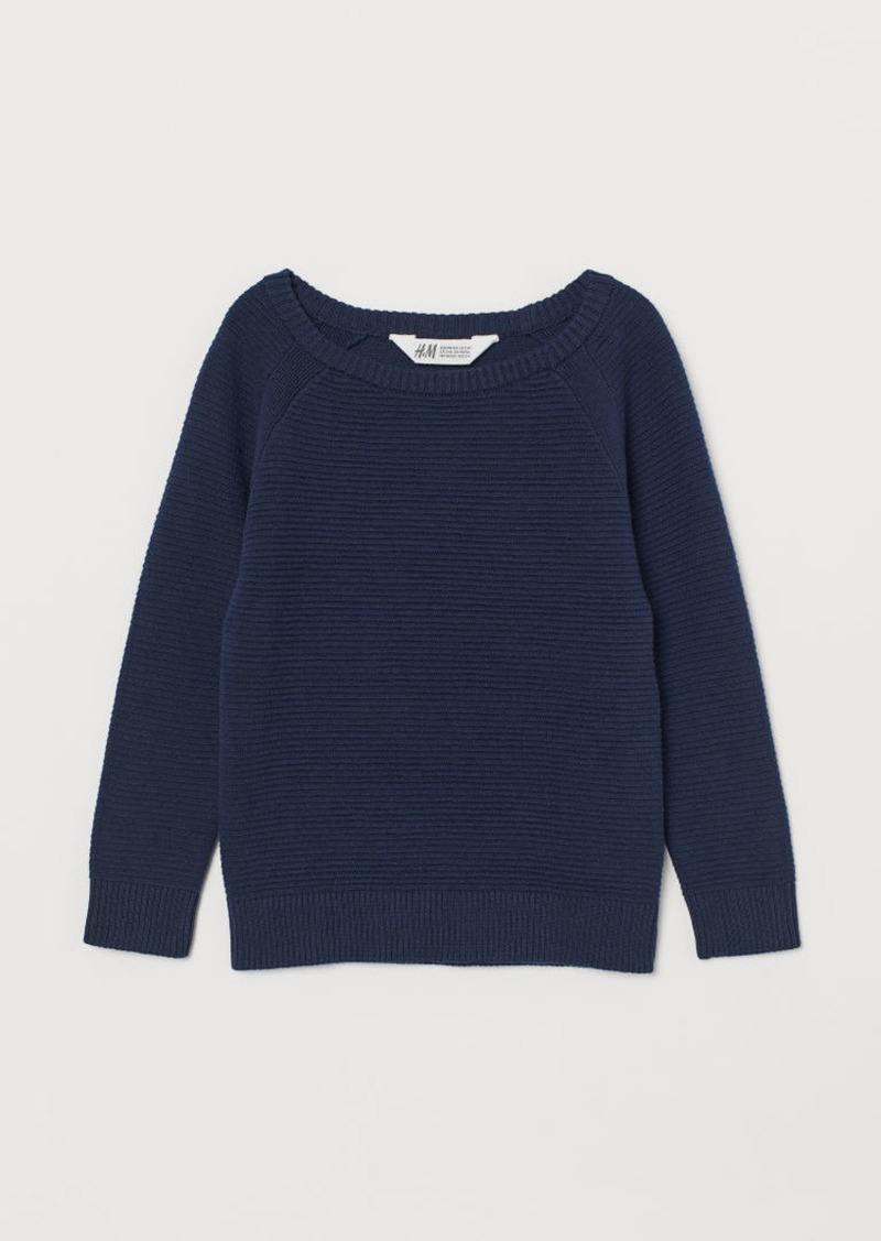H&M H & M - Textured-knit Sweater - Blue