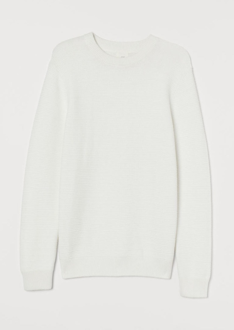 H&M H & M - Textured-knit Sweater - White