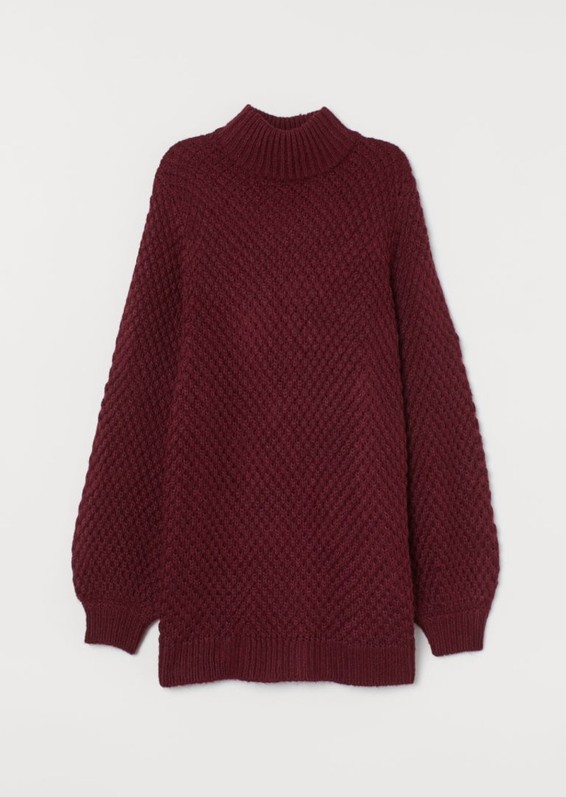 H&M H & M - Textured-knit Turtleneck - Red