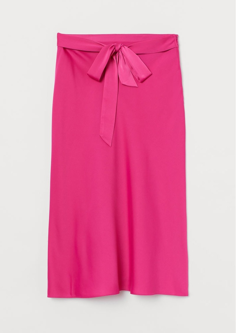 H&M H & M - Tie-belt Satin Skirt - Pink