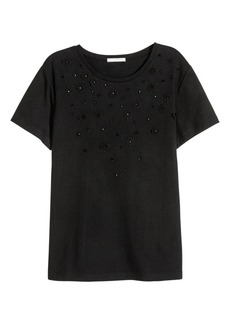 H&M H & M - Top with Appliqués - Black