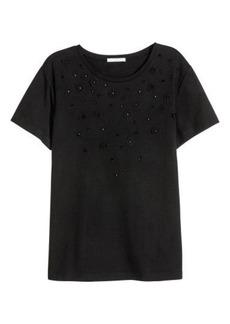 H&M H & M - Top with Appliqués - Black