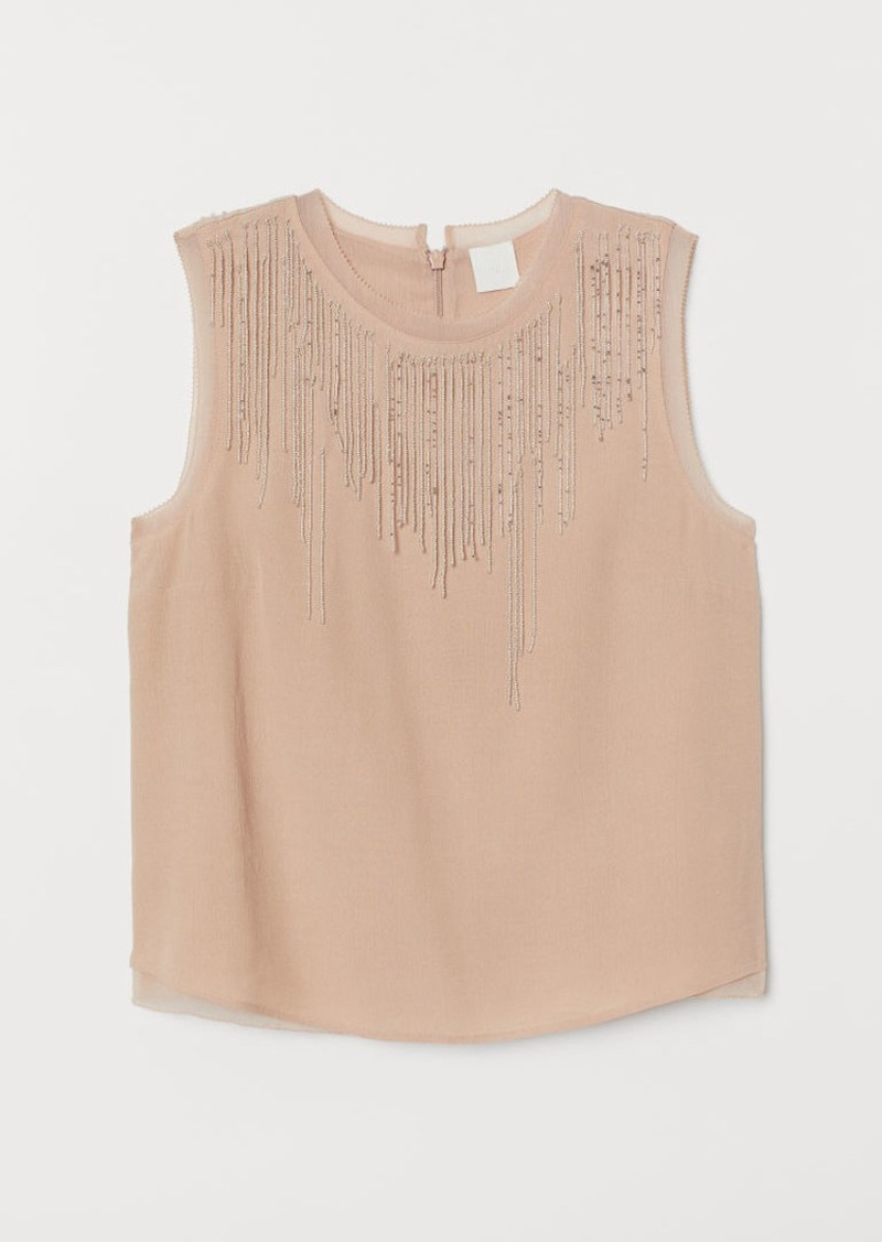 H&M H & M - Top with Beaded Fringe - Beige