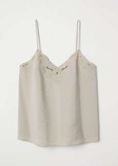 H&M H & M - Top with Embroidery - Beige