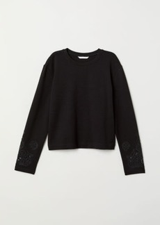 H&M H & M - Top with Embroidery - Black