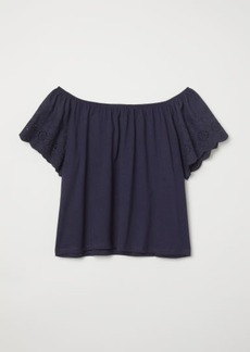 H&M H & M - Top with Embroidery - Blue