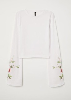 H&M H & M - Top with Embroidery - White