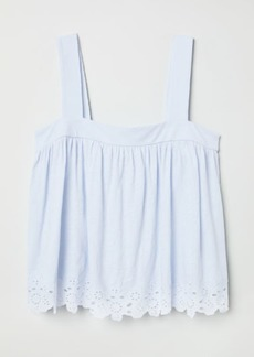 H&M H & M - Top with Eyelet Embroidery - Blue