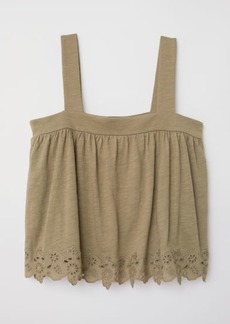 H&M H & M - Top with Eyelet Embroidery - Green